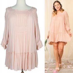 Boho Cloud 2X Flowy Pink Smocked Ruffle Dress